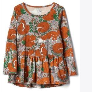 Baby Gap Fox print peplum shirt
